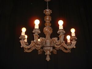 Antique Vintage Large French 8 Arm Beech Wood Renaissance Style Chandelier