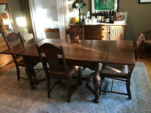 Jacobean Revival 8 Piece Oak Dining Room Set Table Chairs Hutch