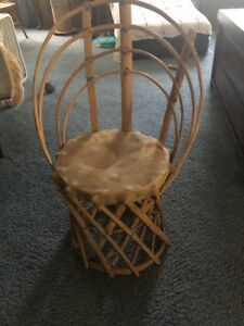 Primitive Rare Indian Tribal Wooden Bamboo Chair Bongo Skin Seat Rustic Decor