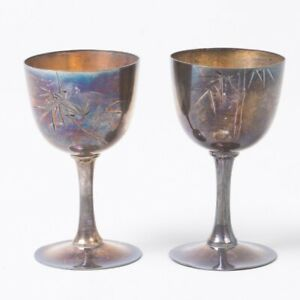Set Of 2 Vintage Pure Silver Cordial Glasses Saki Cups Etched Bamboo Cpo Japan