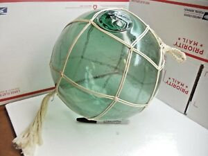 Antique 11 Authentic Japanese Glass Fishing Float Buoy Marked 1207 9
