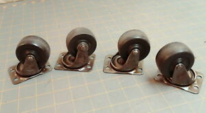 4 Swivel Steel Casters Ball Bearing And Flat Base Mount Bassick