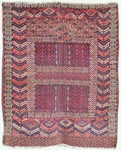 Collectible Antique Turkmen Ensi Hatchli Prayer Rug Central Asia N18