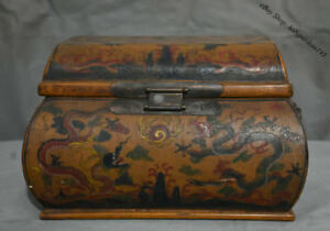 12 Old Chinese Wood Lacquerware Carved Two Fly Dragon Storage Chest Bin Box