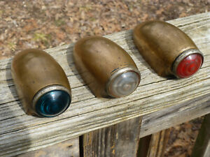 Antique 1910 S 1920 S Heavy Brass Era Brass Indicator Signal Light Tail Lights