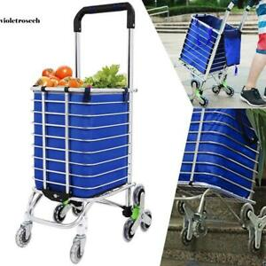 Large Stair Climbing Cart Multi wheel Fold Grocery Laundry Shopping Handcart Us
