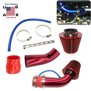 3 Universal Car Cold Air Intake Kit Filter Red With Clamp Accessories Us