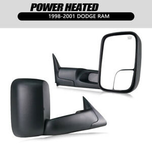 Pair Fit 1998 2001 Dodge Ram 1500 2500 3500 Flip Up Power Heated Towing Mirrors
