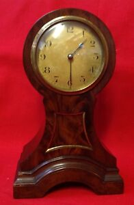 C 1900 Art Nouveau French Walnut Balloon Mantel Clock Made In France Working