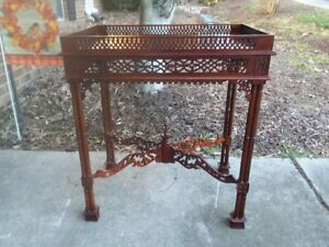 Antique Imported Hand Carved Punched Solid Wood Side Table Plant Stand 27
