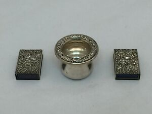 Antique Sterling Silver Cigarette Urn Holder 2 Match Box Cases S Kirk Son