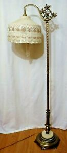Antique Brass Marble Floor Lamp Fringe Shade Matching Pull String Double Socket
