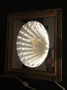 Vintage Infinity Mirror In Gold Frame With Crucifix Cool Night Light Jesus Cross