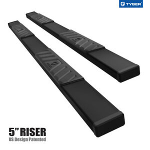 Tyger Riser For 07 21 Toyota Tundra Crew Max 5inch Black Side Step Nerf Bars