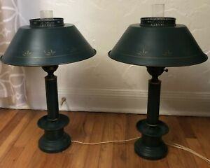Vintage Brass Wall Lamp French Bouillotte Style Tole Metal Shade Green 2 Feet