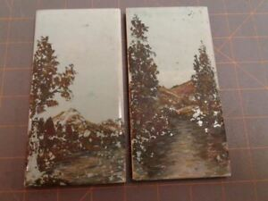 2 Roman Subway Tiles Wall Hanging Hand Painted Scene Usqt Co Vintage