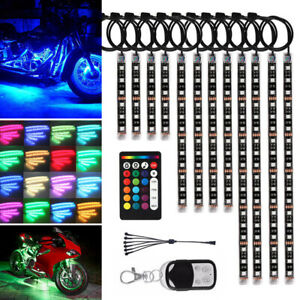 12pcs Motorcycle Led Light Kit Strips Multi color Accent Glow Neon Ground Effect