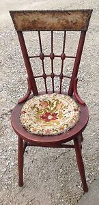 Early Antique Victorian Parlor Ball Stick Chair Dainty Ladies Piano Desk Vtg