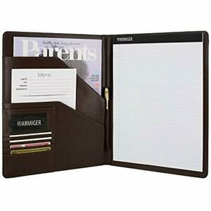Executive Bonded Leather Professional Pad Holders Folio With Letter Size Notepad