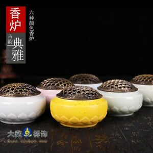 Buddhist Buddha Lotus Censer Incense Holder Burner Family Hall Alter Handmade