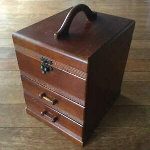 31 5 Cm Very Rare Japanese Old Sewing Makeup Vintage Wooden Box With Mirror H9