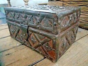 A Vintage Old Look Iron Work Wooden Jewellery Trinket Storage Box Chest Wood
