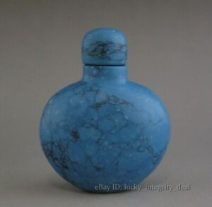 Beautiful Chinese Old Turquoise Jade Stone Snuff Bottle