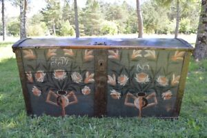 Large European Antique Polychrome Painted Wedding Chest Circa 1815