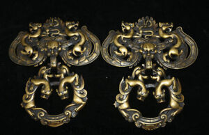 8 8 Antique Old China Copper Feng Shui Dragon Beast Door Knocker Door Ring Pair
