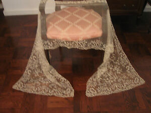 Antique French Lace Veil Shawl 1800 S Handmade 106 By 25