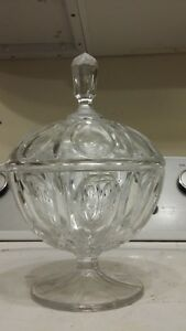 Antique Vintage Crystal Glass Apothecary Jar Candy Bowl Display Canister