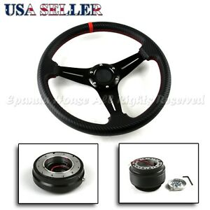Fit 02 06 Acura Rsx Dc5 320mm 3 Spokes Cf Grip Steering Wheel Hub Quick Release