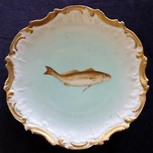 Antique French Limoges 9 Inch Fish Plate By Tressemann Vogt No 4