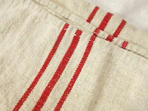 Vtg Antique 1800s Red Stripe French Hemp Linen Rustic Feed Sack Grain Bag 22x46