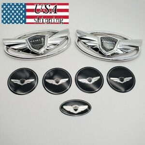 Set 7pcs For Hyundai Genesis Coupe Silver Chrome Wing Logo Emblem