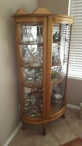 Large Vintage Curved Glass Curio Cabinet With 4 Shelves Oak Wood Locks Americana