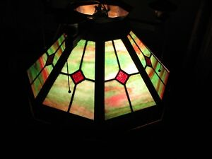 Large Antique Arts Crafts Brass Leaded Stained Glass Hanging Lamp