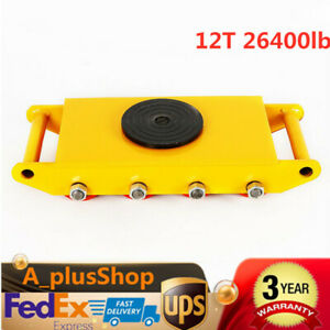 12t 26400lb Heavy Duty Machine Dolly Skate Roller Machinery Mover Yellow Usa
