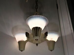 Antique Art Deco Slip Shade Chandelier 1920s Old Vtg 3 Light Fixture Opalescent