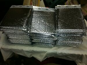 Lot Of 100 Uline 10 5x8 Cool Shield Thermal Bubble Mailers Envelopes Silver New