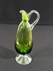 Vintage Antique Green Glass Pitcher Clear Handle 10 Vase