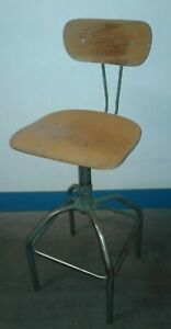 Vintage Wood Metal Industrial Adjustable Drafting Stool Our 1