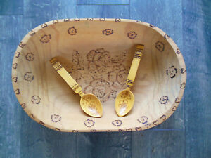 Large Oval Wood Bowl With Pyrograph Design Includes 2 Wooden Spoons