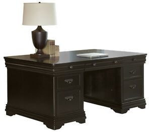 Dark Cherry Louis Philippe Double Pedestal Executive Desk Fully Assmebled