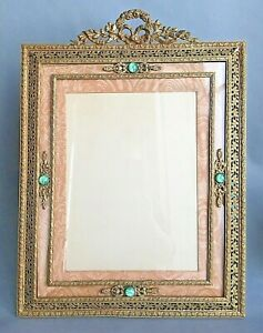 Antique Large 19 X14 Frame Bronez Empire Style French 1920s Ornate Bow Gold