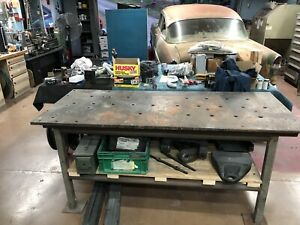 Thick Top Steel Fabrication Layout Welding Table Work Bench Cast Vintage