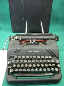Vintage Art Deco Smith Corona 4a In Black Sterling Portable Typewriter