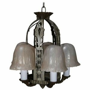 Art Deco Slip Shade Stylized Foliate 5 Light Chandelier Circa 1930