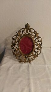 Antique Victorian Bronze Oval Picture Frame Signed Af No Glass