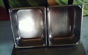2 Half Sized Stainless Steel Hotel Steam Table Pans 4 Deep